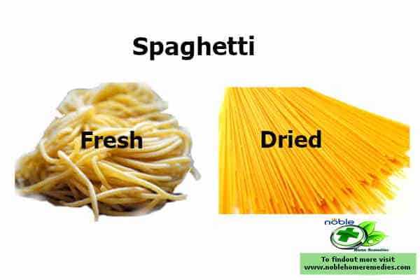 Appearance of the Fresh and Dried Spaghetti