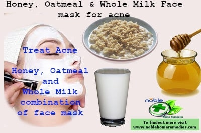 Honey Oatmeal and whole milk face mask for acne